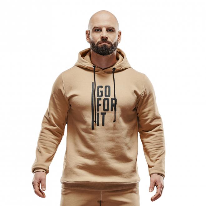 Bluza męska z kapturem Olimp Men Hoodie Gold Series Beige
