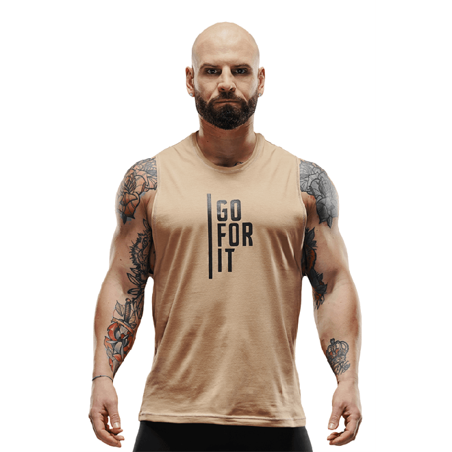 Męska koszulka treningowa bez rękawów Olimp - Men Sleeveless T-Shirt Gold Series Beige